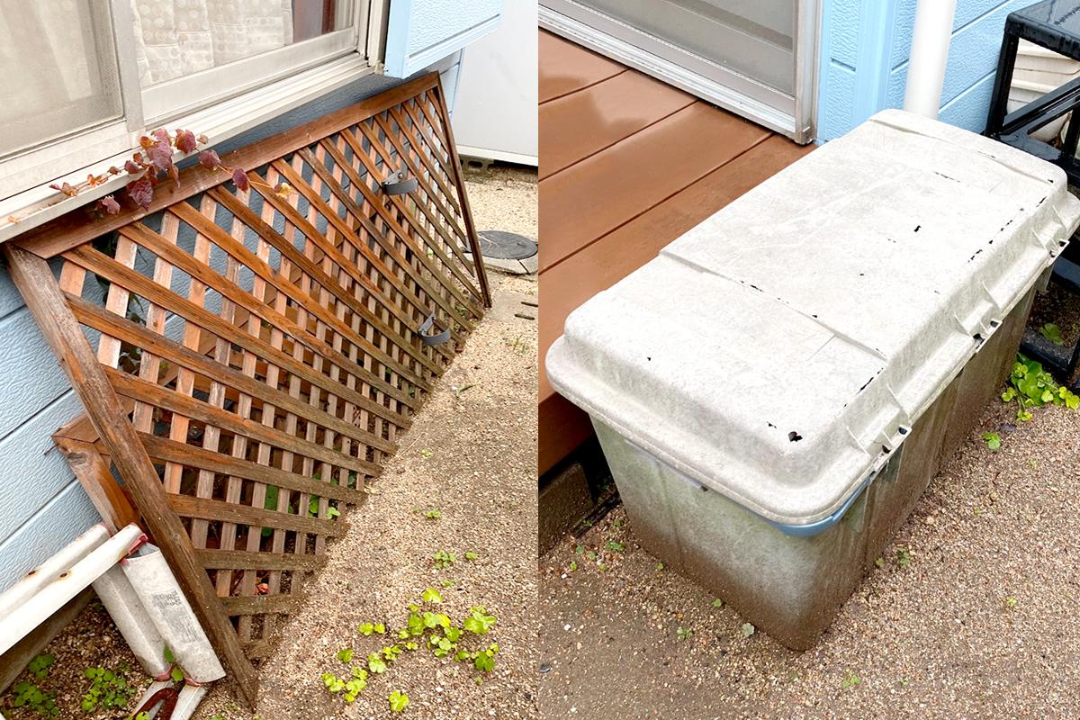 神戸市垂水区にて回収したカウンターテーブルや庭のゴミ等不用品の写真